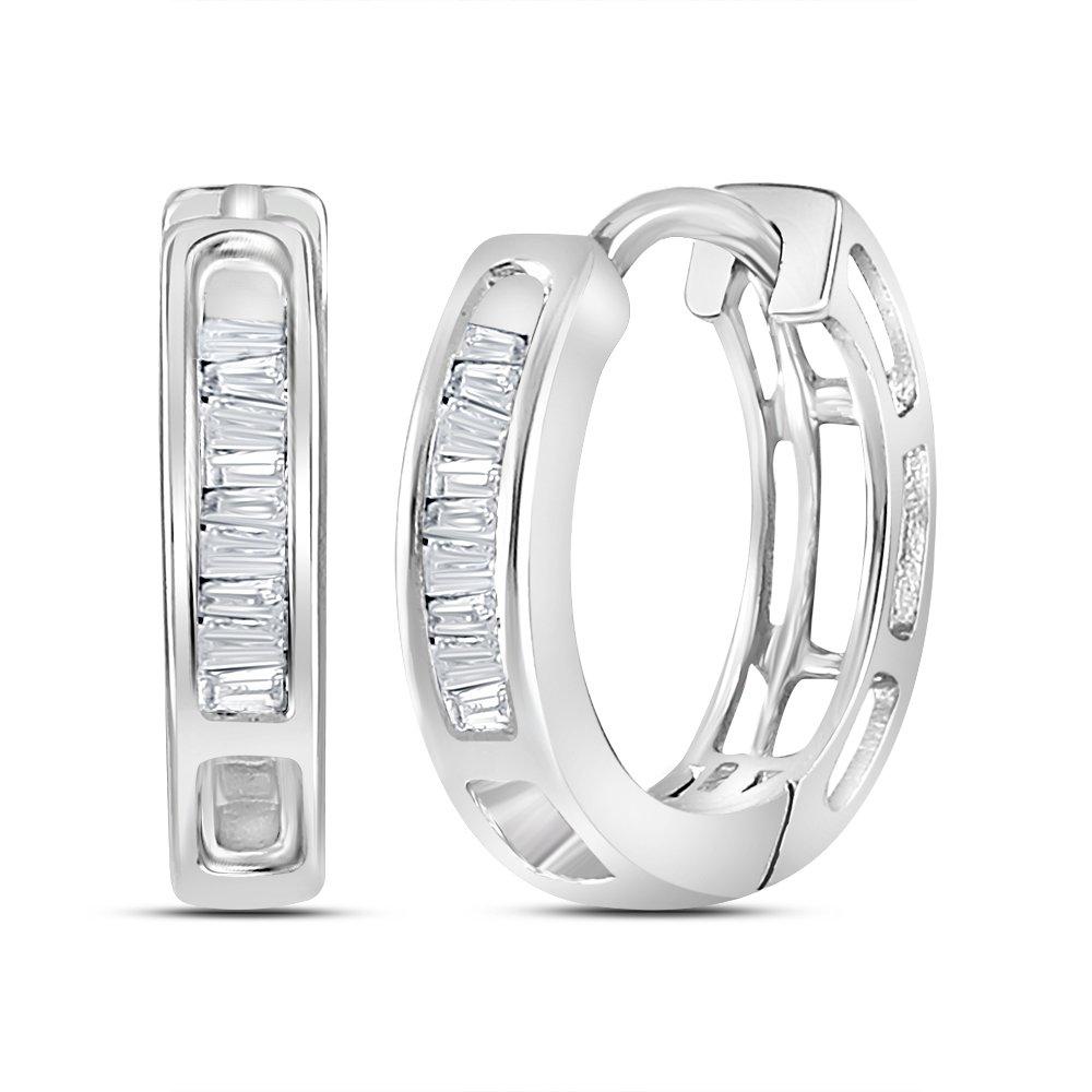 10k White Gold Diamond Huggie Hoop Earrings Round Baguette Hoops Huggies Fashion Style 1/6 Cttw