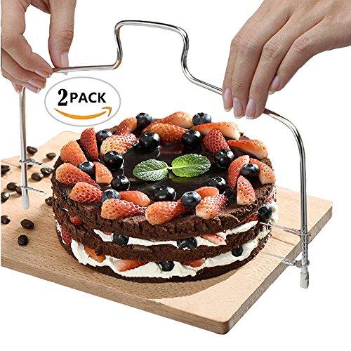 Nextnol 2 PCS,Stainless Steel Cake Tools,Minimalist style,Cake layering device,Cake splitter,Cake Cutter Leveler,Cutting and levelling cakes make life -