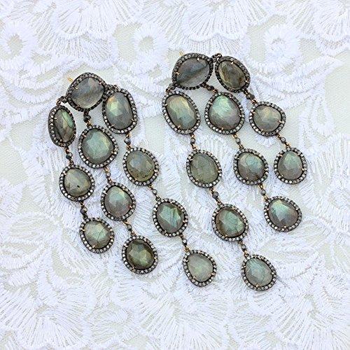 Gemstone Labradorite 14k Yellow Gold Chandelier Earrings 925 Sterling Silver Antique Style Jewelry