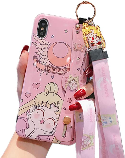 for iPhone 6 Plus Case Cover, Japan Anime Sailor Moon Case with Lanyard Strap Silicone Soft Phone Case Back Cover for iPhone 11 Pro Max Xs Max XR 6S 7 ...