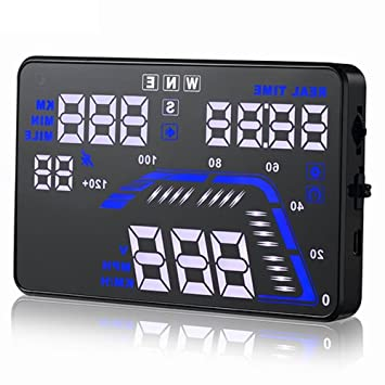 gymnastika 5.5 Inch Head Up Display HUD coche parabrisas proyecto sistema kmh MPH velocidad integrado GPS reloj dirección de conducción más de alarma de ...