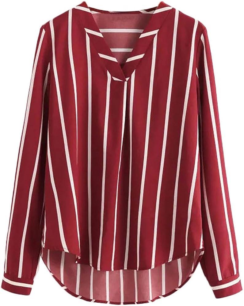 Riou Blusa de Moda con Cuello en V Camisa roja Holgada ...
