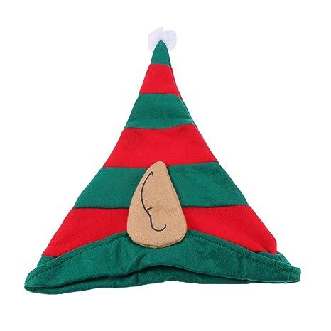 BESTOYARD Cappelli Elfo con Elfo Orecchie Cappelli Natale per Adulti e  Bambini (Rosso e Verde cb4a3320445a