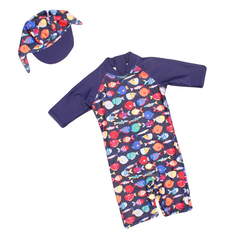 Kid Swimsuit Sun Protective Swimwear Toddler Sun Suit with Hat, Rash Guard UPF 50+ Runola