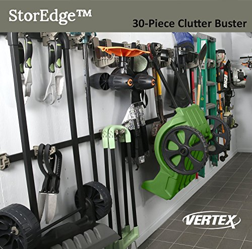 StorEdge 30-Piece Clutter Buster Storage Solution with Super-Duty Track and 24 High Density Organizing Hooks - Clear Space in the Garage, Shed, Workshop and Basement by Vertex (Image #3)