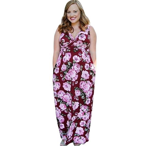 ALIKEEY Mujeres Sin Mangas Vestido De Lactancia Embarazo Maternidad Vestido Largo Estampado Floral Ultrasensibles Ovulacion para
