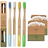 Eco Friendly and Biodegradable Bamboo Toothbrush Water Resistant | Plastic Free Round Handle | Antiseptic Medium Hard Bristle