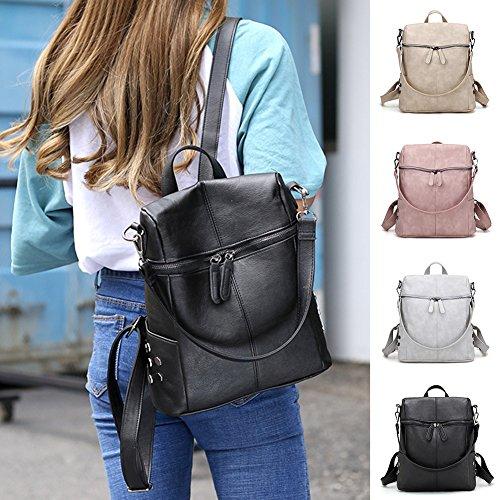 à d'école Sacs à KJH21 Vintage PU Adolescents Dos Filles Simple Dos Unique Mode nbsp;Style Dos Sac Femme Sacs Sac Cuir Beige Taille Noir à Femelle 8ctt6zqPw