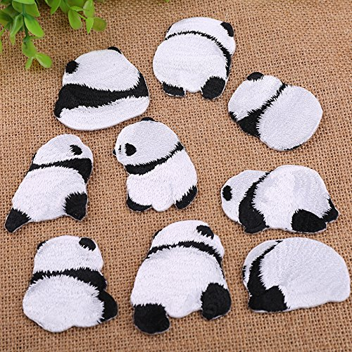 Face Embroidery Applique Design (Assorted Embroidery Applique Decoration DIY Patch Panda silhouette Funny Custom design face kit iron on for shirt Jacket bag hat pant vest jean cotton clothes kid love Great as happy birthday gift…)