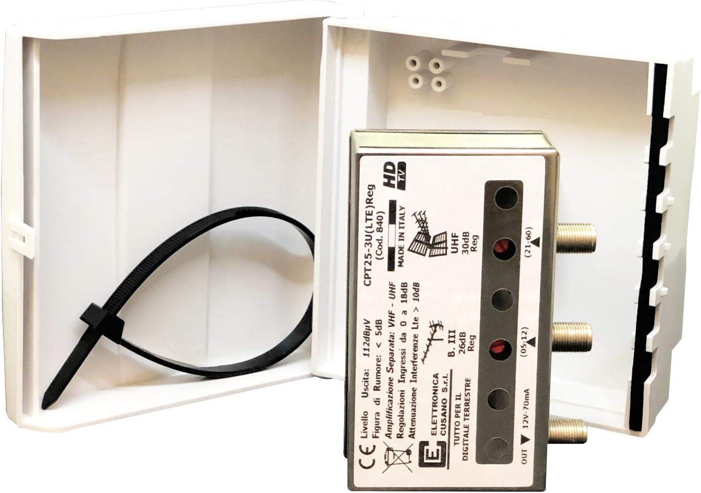 cpt25 – 3U (LTE) REG – Amplificador de Poste con Filtro LTE de 2 entradas: III O UHF – Ganancia 26dB – para Zonas con señal de Media/Baja Intensidad