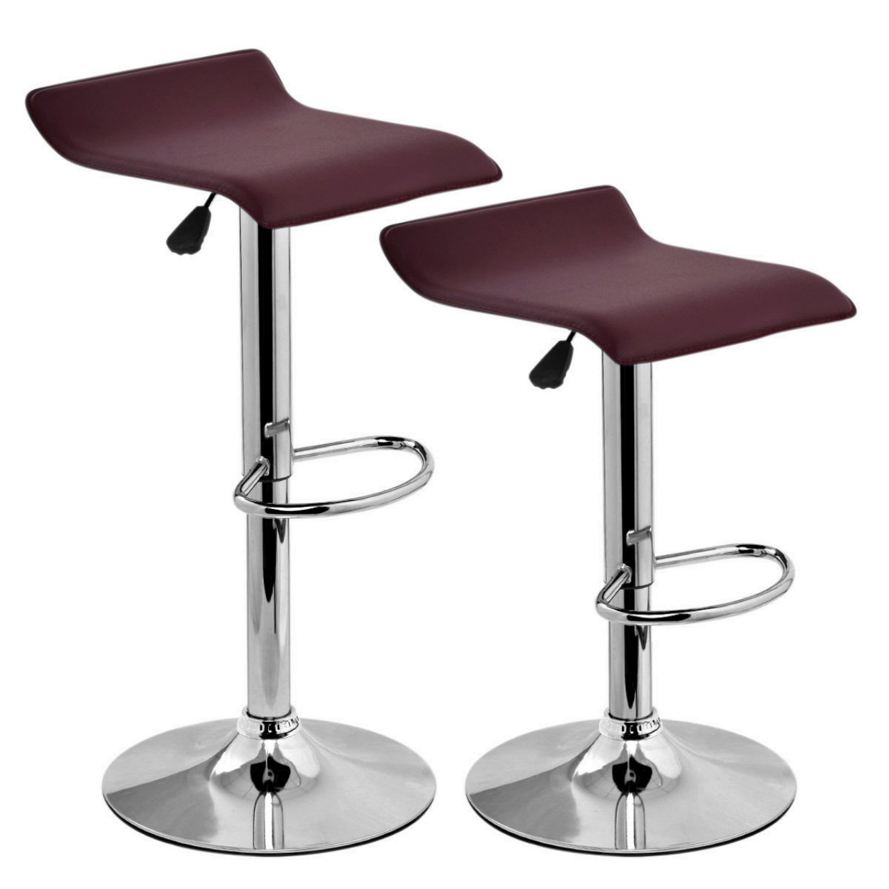 Set Of 2 Swivel Bar Stools Adjustable Waterproof Anti-aging PU Leather Backless Dining Bar Chair Square Brown #714