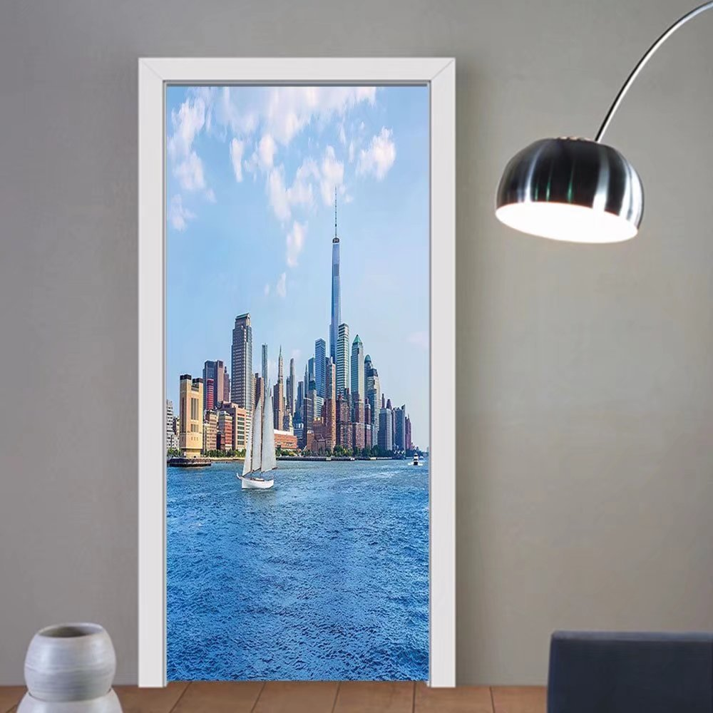 Gzhihine custom made 3d door stickers Sailboat Decor Sailboats And Power Boats Anchored in Crystal Clear Waters Of The Bahamas Decor For Room Decor 30x79