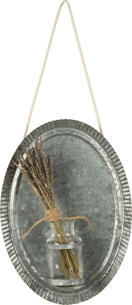 Primitives by Kathy Tin Wall Plaque With Vase Home and Garden Decor