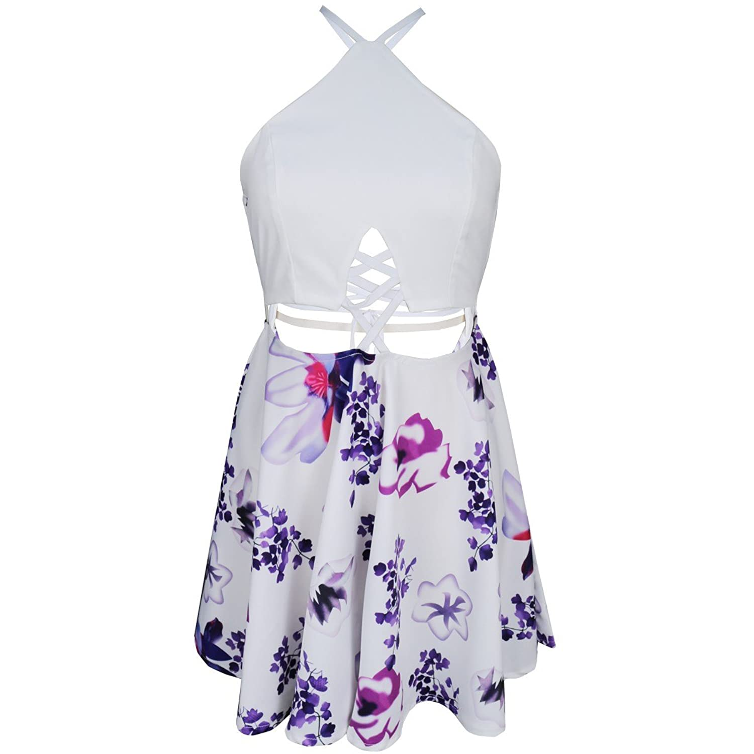FANCYINN Women Sexy Backless Front Hollow Out Floral Print Casual Mini Dress