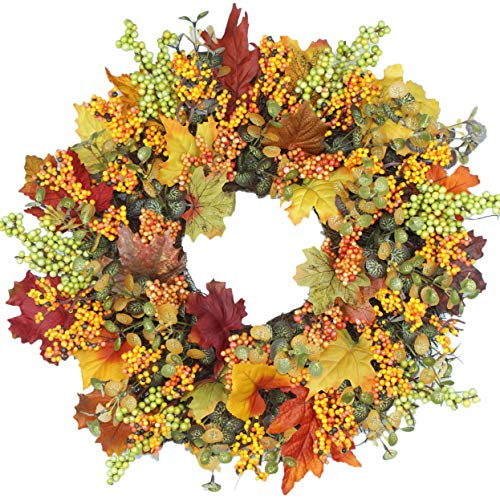 Emlyn Berry Fall Front Door Wreath 18 Inches - Lush Seasonal Foliage and Berries, Approved for Covered Outdoor Use,Home Decor, Year Round Wreath, Door Wreath, -