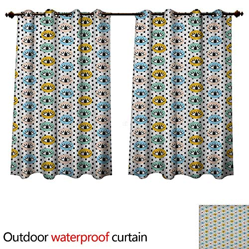 Anshesix Eyelash Home Patio Outdoor Curtain Hand Drawn Style Doodle Eyes in Colorful Circles Dotted Artful Hipster Fun Pattern W63 x L63(160cm x ()