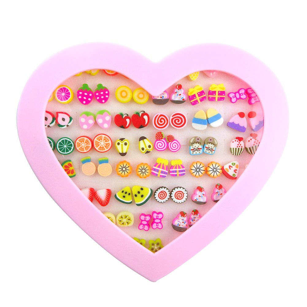 Unijew 36 Pairs Stud Earrings Hypoallergenic Kids Jewelry Fruit Cake Mixed for Girl Women With Gift Box