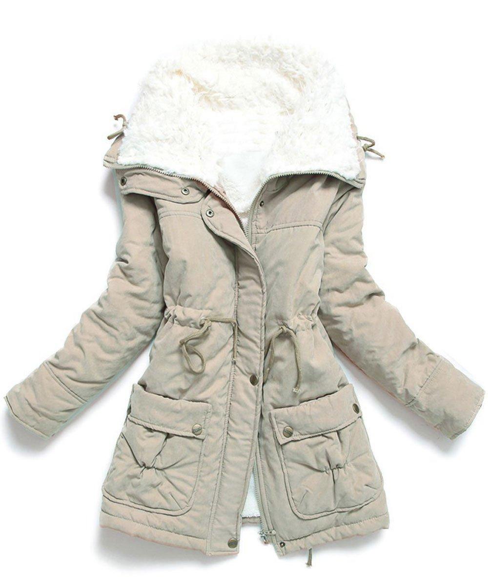 Ecupper Women's Winter Mid Length Thick Warm Faux Lamb Wool Lined Jacket Coat(Khaki,Tag L)