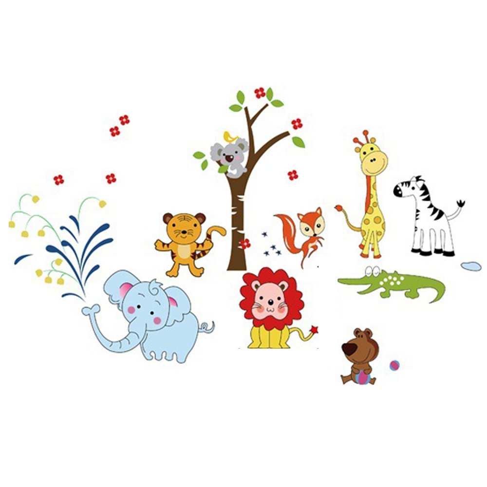 Winhappyhome Cute Animals Kids Wall Stickers for Bedroom Nursery Background Decor Decals