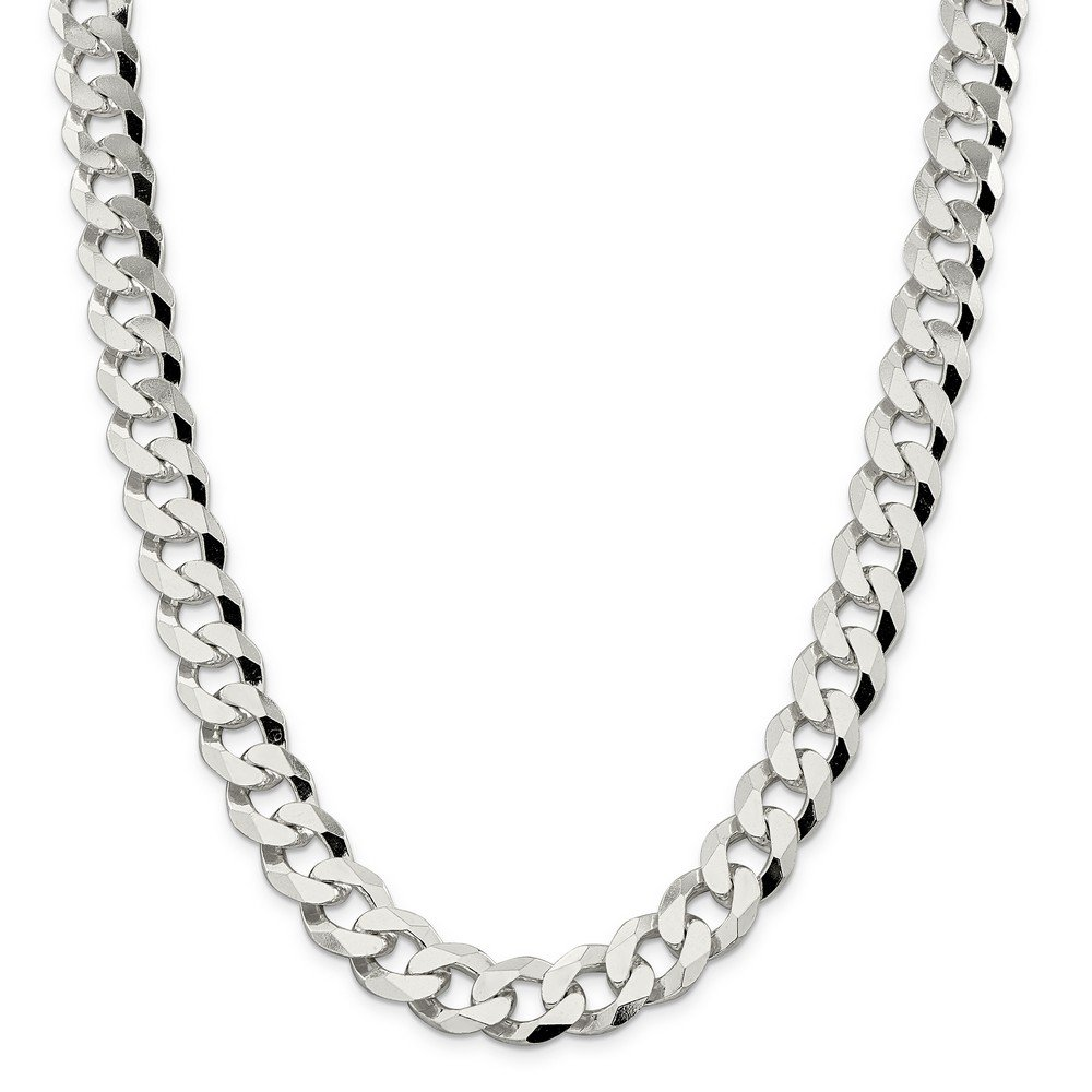Sterling Silver 14mm Beveled Curb Chain Bracelet - 9 Inch