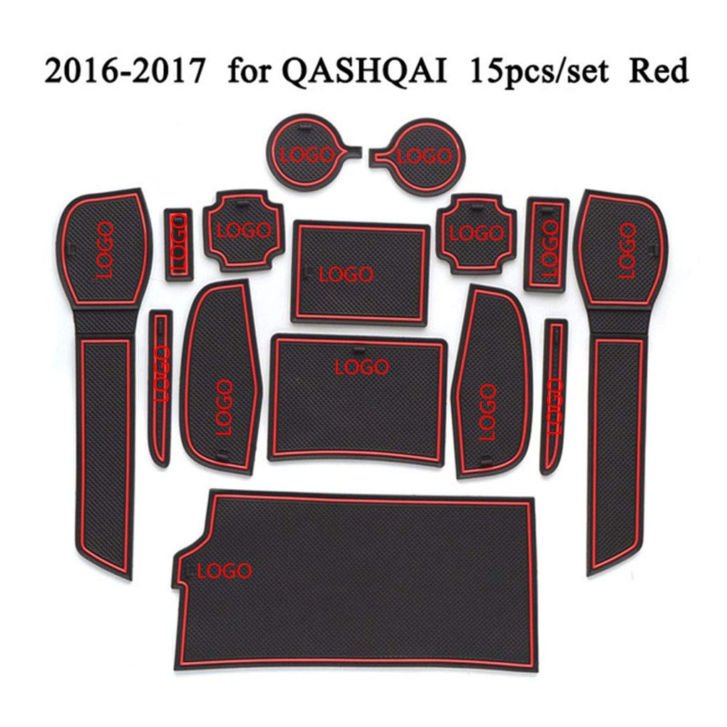 Flushzing 15pcs//set Car Door Groove Mat Gate Slots Cup Holder Non-slip Pad Decor Replacement For Nissan Qashqai 2016-2017