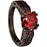 JunXin Black Gold 8MM Round Dark Red Ruby CZ Filled Solitaire Ring Engagement Size5/6/7/8/9/10/11