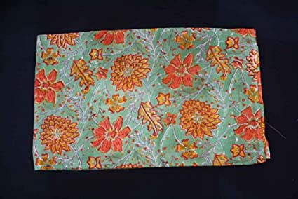 Indian Hand Block Print Craft Sewing Dressmaking Fabric 3 Yard Throw Quilting
