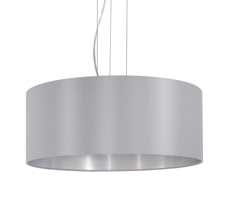 Fassung: E27 EGLO Pendellampe Maserlo grau 2 flammige Textil Pendelleuchte H/ängeleuchte aus Stahl und Stoff L: 78 cm silber Farbe: Nickel matt