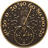 K&A Company Outdoor Thermometer and Clock - Pineapple, 14'' x 14'' x 1.25'' x 6.5 lbs, French Bronze