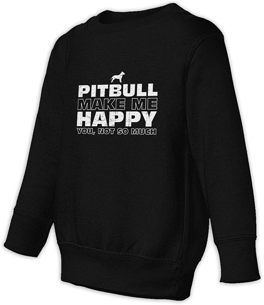 wudici Happy Pitbull Boys Girls Pullover Sweaters Crewneck Sweatshirts Clothes for 2-6 Years Old Children