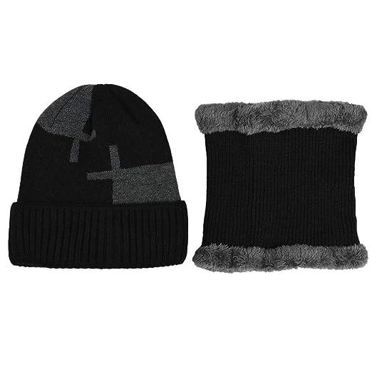 062c9eaa Yezijin 2-Pieces Winter Beanie Hat Scarf Set Warm Knit Hat Thick Knit Skull  Cap