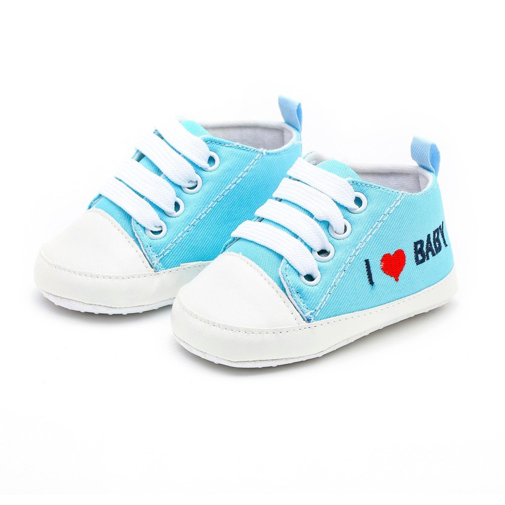 ❤️ Mealeaf ❤️ Newborn Toddler Baby Girls Boys Heart Letter Print Solid Soft Sole Casual Shoes(3M-12M)