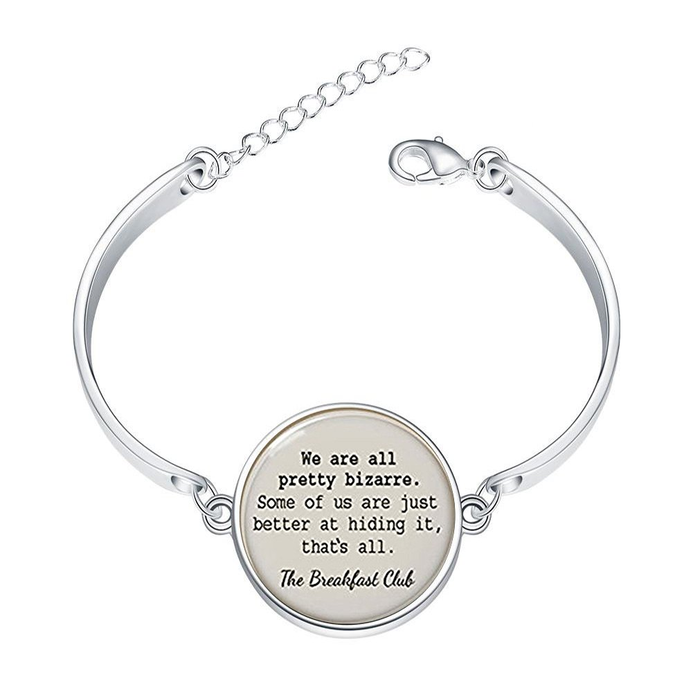 DOME-SPACE Adjustable Silver Bracelets The Breakfast Club QuoteHand Chain Link Bracelet Clear Bangle Custom Glass Cabochon Charm