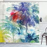Ambesonne Palm Tree Shower Curtain, Retro Watercolor Silhouettes of Palm Trees Stains on Tropical Paradise Theme, Cloth Fabric Bathroom Decor Set with Hooks, 75' Long, Sepia Purple