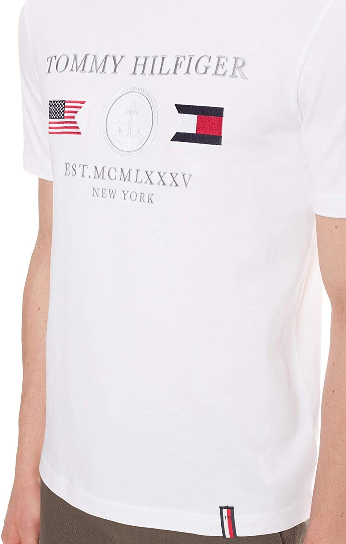 Tommy Hilfiger – Camiseta de hombre blanca con bordado de banderas: Amazon.es: Ropa y accesorios