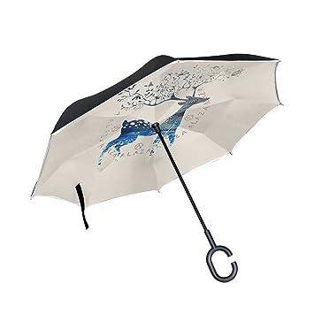 jstel doble capa puede ciervos flor paraguas coches Reverse resistente al viento lluvia paraguas para coche