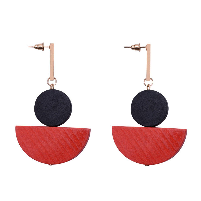 XIAFEIMANTIAN Wooden Wood Earring Geometric Round Handmade Ear Stud fashion earrings