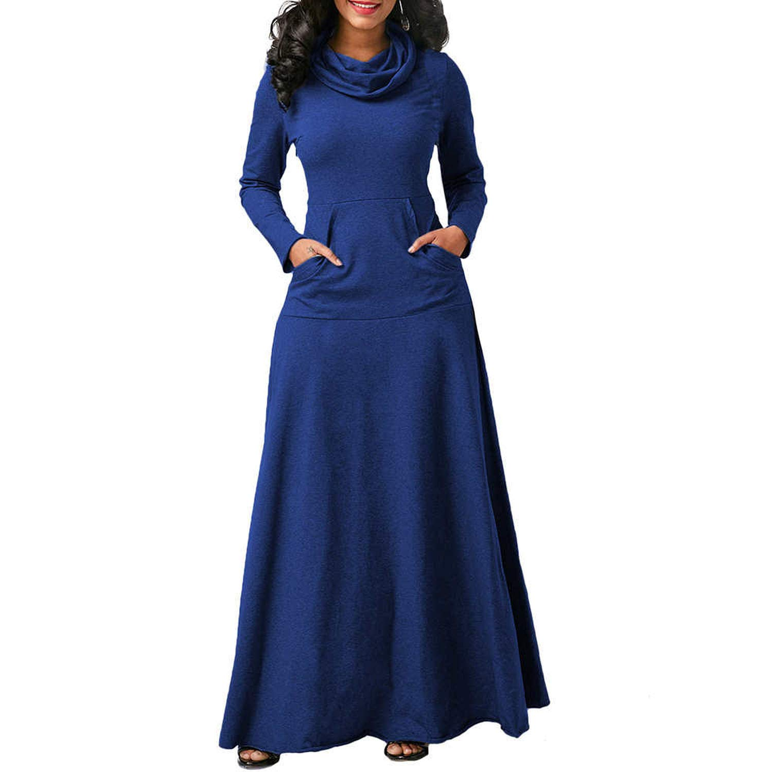 bluee I'll NEVER BE HER 2018 Winter Long Sleeve Cotton Solid Bow Collar Party Dress Plus Size XXL Casual Women Boho Dress