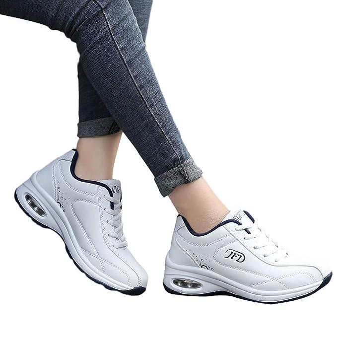 Zapatillas Running Hombre Mujer,JiaMeng Zapatillas Deportivas con Cordones Antideslizantes y Transpirables de Cuero sin Cordones, Planas y Ligeras: ...