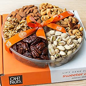 Oh! Nuts® Christmas, Gourmet Nuts Gift Basket | Holiday Freshly Roasted Nuts Large 6-section Tray | Great Thanksgiving Gifts Set Prime Idea for Men & Woman for Birthday, Sympathy or Hostess Gift