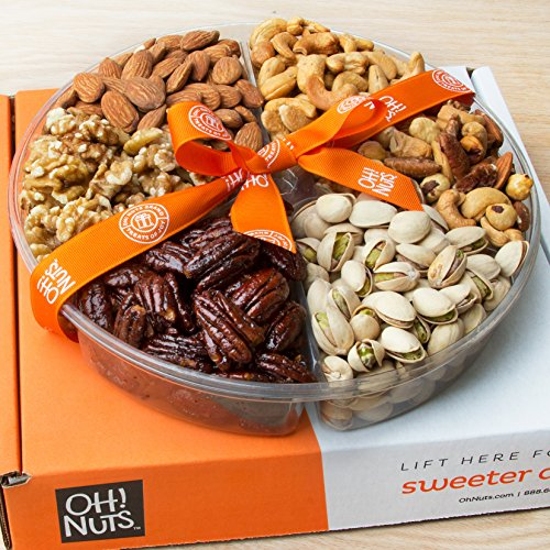 Oh! Nuts Holiday Gift Basket, Roasted Nut Variety Fresh Assortment Tray, Christmas Gourmet Food Prime Thanksgiving Delivery Idea for Men & Women Get Well Sympathy Fathers Mother & Valentines Day    Birthday Gourmet Dinner Gift