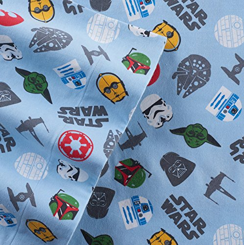 Star Wars Scatter Print Flannel Twin Sheet Set by Franco