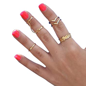 Amazon Mokingtop Bling Women Gold Heart Joint Knuckle Nail