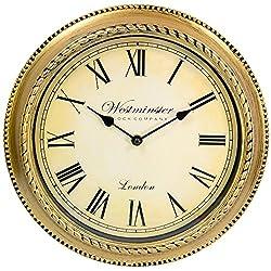 "TukTek Home 12"" Antique Gold Roman Numeral Fancy Decorative Wall Clock"
