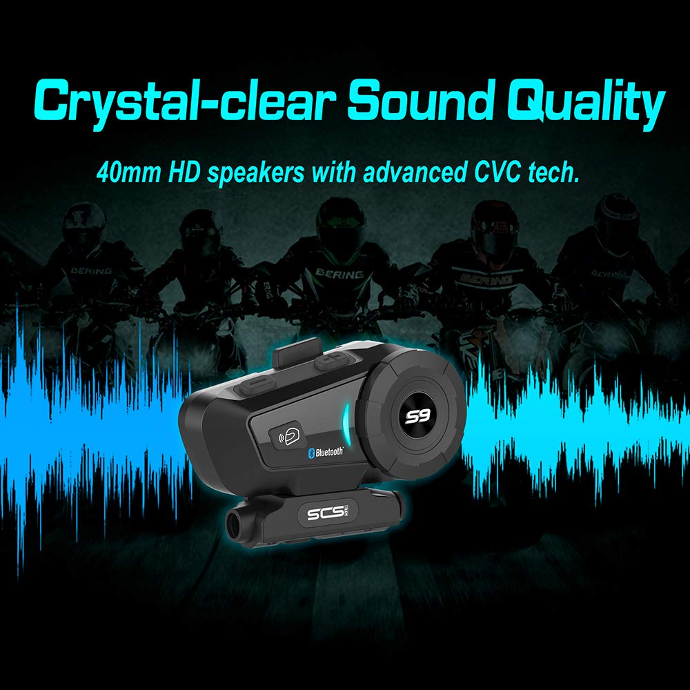 2019 SCS ETC S-9 Helmet Intercom Motorcycle Communication System Wireless Headphone with Noise Cancellation Up to 6 Riders for Motorbike Skiing Helmet Bluetooth Headset Motorcycle Intercom