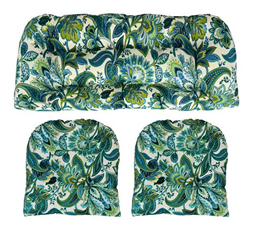 RSH Décor Indoor/Outdoor Wicker Cushions Two U-Shape and Loveseat 3 Piece Set Teal Blue Green Paisley