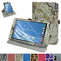 "Insignia NS-P08A7100 Rotating Case,Mama Mouth 360 Degree Rotary Stand With Cute Lovely Pattern Cover For 8"" Insignia Flex NS-P08A7100 Andriod 6.0 Tablet 2016,Map White"