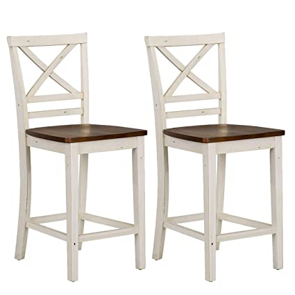 Groovy Standard Furniture Amelia 2 Pack Counter Height Chair White Brown Machost Co Dining Chair Design Ideas Machostcouk