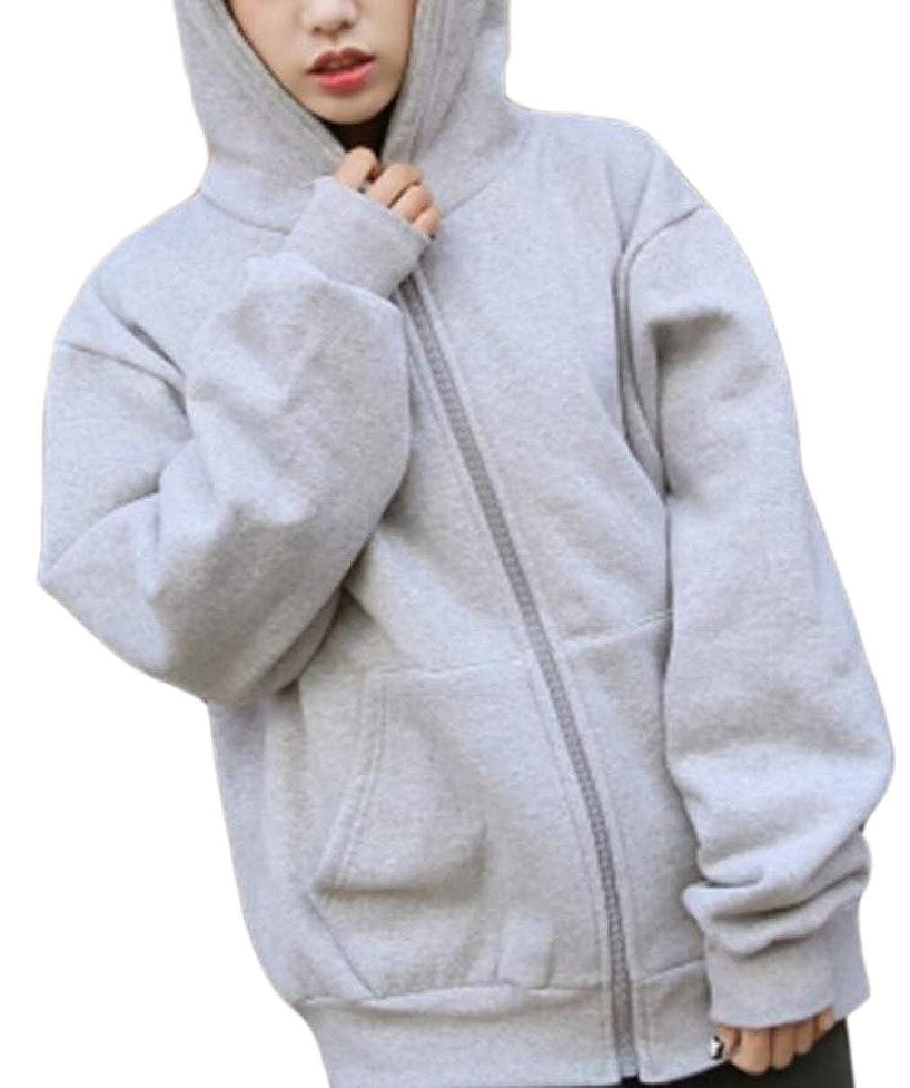 LEISHOP Womens Thermal Hood Plain Relaxed Kangaroo Pocket Fleece Sweatshirt Coat