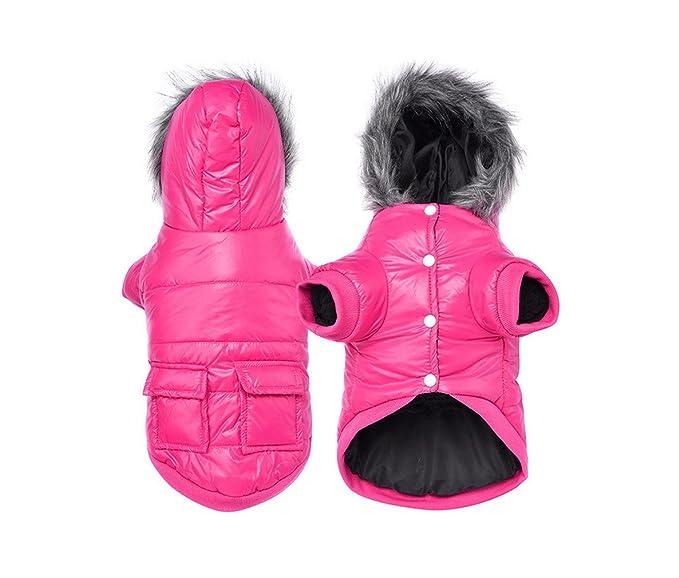 La vogue Ropa de Perros Mascotas Abrigo Algodón Caliente Invierno con Capucha Rosa Small: Amazon.es: Juguetes y juegos
